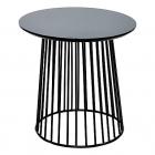 tavolino tondo in metallo e betulla 50x52 135e