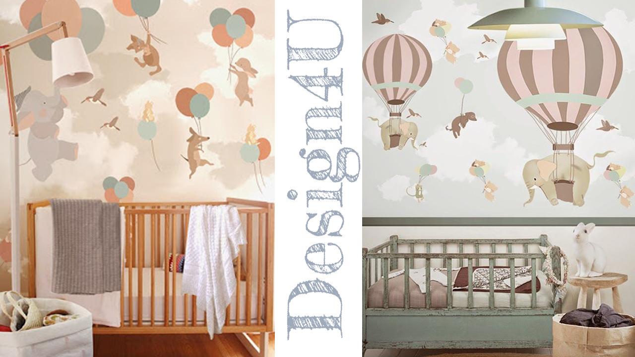 Idee per camerette neonati nursery design4u for Carta da parati bambini on line